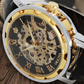 Luxury Brand MG.ORKINA Skeleton Mechanical Hand Wind Watches Men Steampunk Wristwatches Male Business Clock With Genuine Leather
