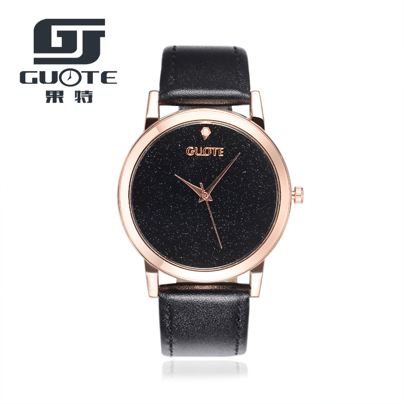 Watch 2017 Brand GUOTE Leather Strap Extreme Brief Concise Women Watches Rosy Gold Casual Quartz Watch Relogios Femininos Hot