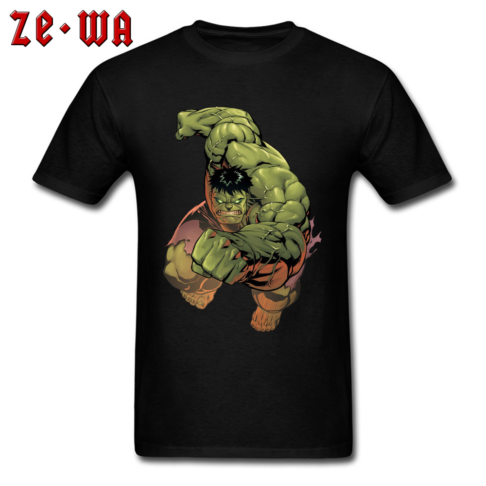 Power Hulk T-shirt Cool Print Men Tshirt Marvel Superhero Print Tops Cotton Black Tees Students Funky Clothes Mutant Hero