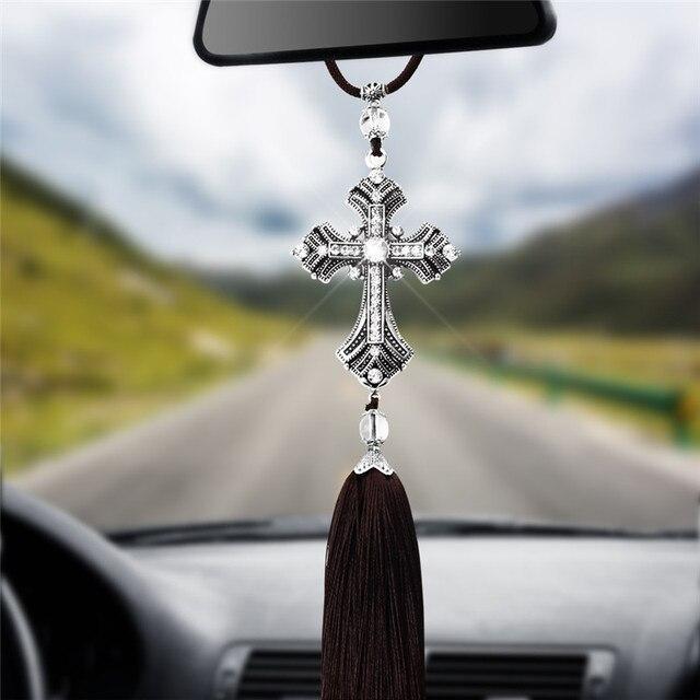 MALUOKASA Car Pendant Metal Jesus Figurine Cross Crucifix