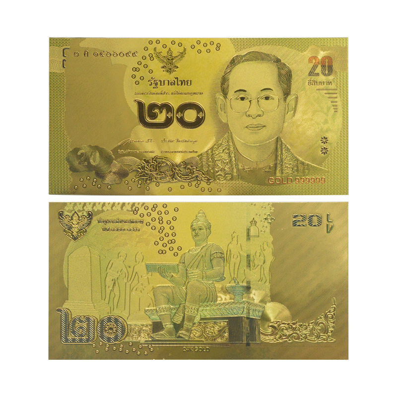 7f475c2e0 Normal Cor Banhado A Ouro de Notas Tailândia 20 Baht Made In China Normal  Para O Presente