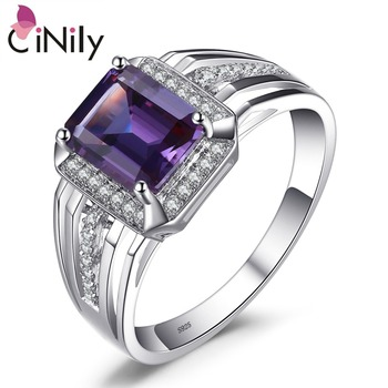 CiNily Authentic. Solid 925 Sterling Sliver Created Amethyst Cubic Zirconia Fine Jewelry for Men's Ring Size 7-8 SR011