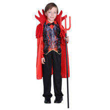 Kids Child Boys Hell Fire Flame Devil Demon Costume Horns Outfits Halloween Purim Party Carnival Fancy Cosplay Costumes