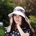 Moda Cara Protección Sombrero para el Sol Sombreros de Verano Para Mujeres Plegable Anti-UV Amplia Grandes Brim Ajustable de Las Mujeres Sombrero de Verano
