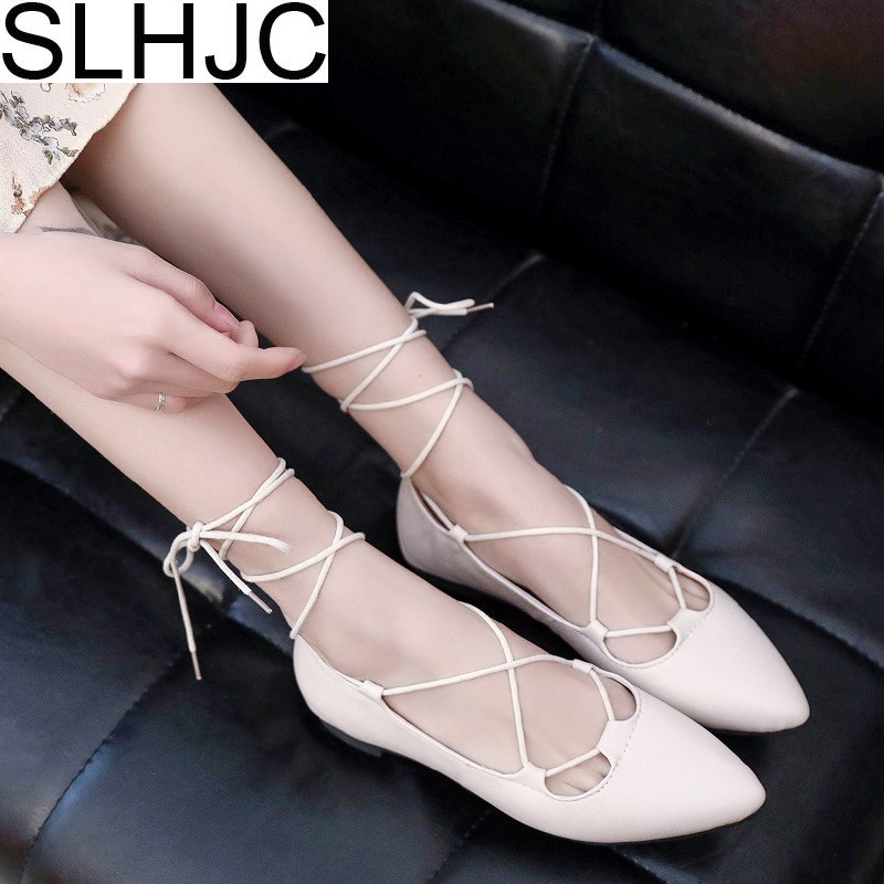 SLHJC 2018 Spring Summer Flats Shoes Women Leather Pointed Toe Cross Tie Ballet Flat Heel Casual Daily Shoes Summer Sandals pu pointed toe flats with eyelet strap
