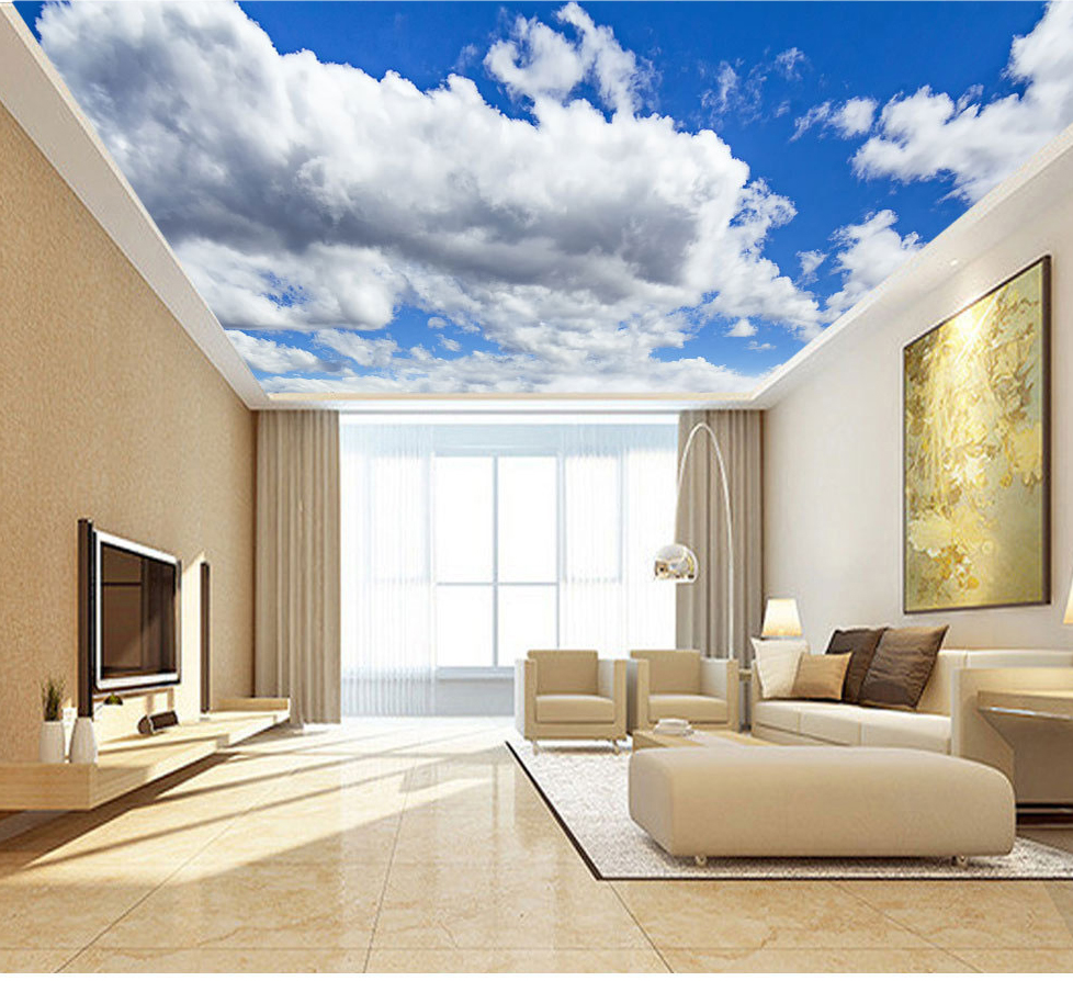 Large Blue Sky Cloud Mural 3d Ceiling Mural Wallpaper for Walls Living room Hall 3d Wall Ceiling Murals 3d Wall paper Sticker custom 3d ceiling wallpaper white polygon brick wall wallpaper for walls 3 d ceiling murals wallpapers for living room