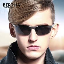 BERTHA Fashion Photochromic Sun glasses For Men Rimless Vintage Polarized UV400 Driving Goggles Sunglasses Sports Glasses BS8033