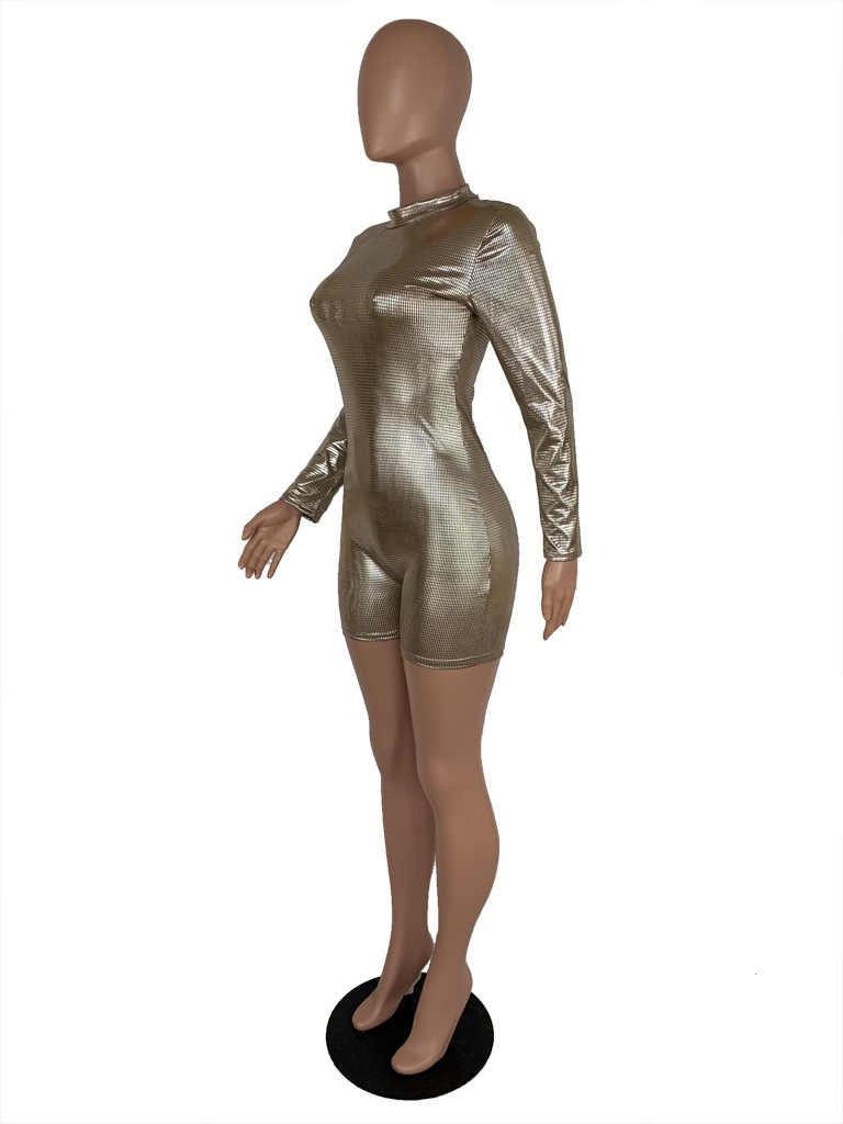 С длинным рукавом Блеск бинты брюки женский комбинезон 2019 Мода молнии Golid принт Тощий Bodycon Вечерние Клубные пикантные Playsuit