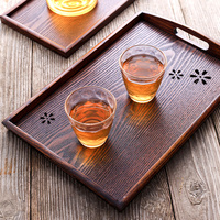 Vintage Wooden Serving Tray with Handles Large Food Tray Coffee Tea Plate Snack Fruit Serving Platters Hotel Home Cafe Tableware