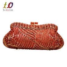 Stilvollen Roten Abendtasche Luxus Kristall Diamante Damen Party Prom Kupplung Hochzeit Handtasche Bankett Tasche Blau Pochette Sacoche 88192