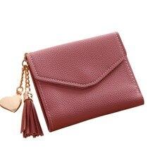 Women Wallet Simple Mini Wallet Coin Purse Card Holders Clutch Handbag With Tassel +Heart Shaped Pendant Wallet Women carteira недорого