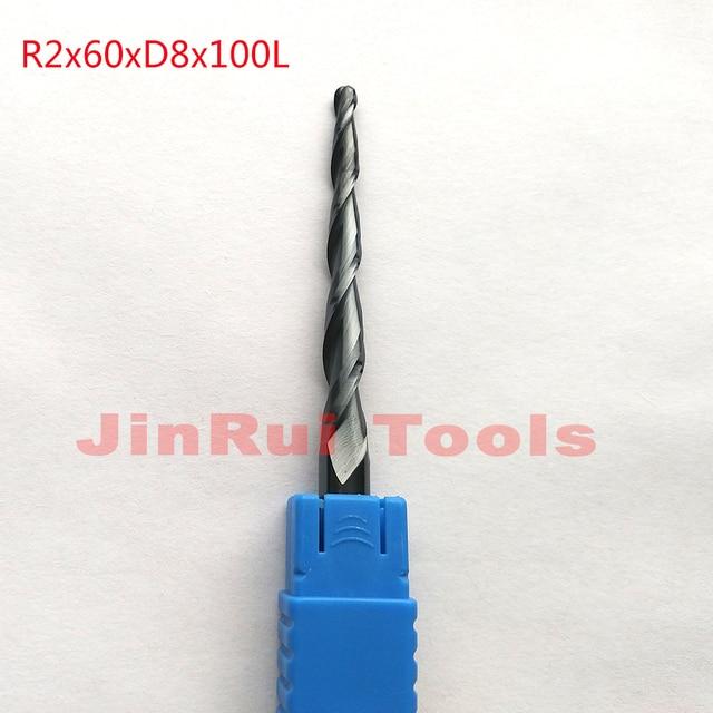 1 adet R2 * D8 * 60 * 100L * 2F HRC55 Tungsten katı karbür Kaplı Konik Bilyalı Burun Ucu mills CNC freze kesiciler bıçak