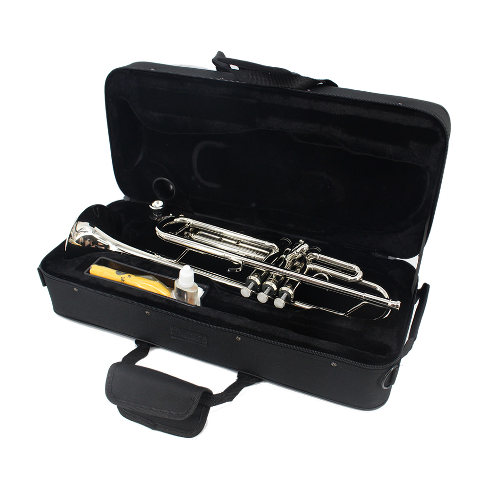 Brand JINYIN Trumpet Bb Flat Brass Wind Instruments with Case Gloves Mouthpiece professional new silver plated trumpet bb keys with monel valves horn case