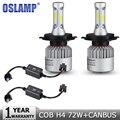 Oslamp H4 COB 72W Hi-Lo Beam LED Car Headlight Bulb 8000lm 6500K Auto Led Headlight Bulb Headlamp+Canbus Wiring Adapter 12v 24v