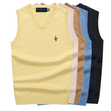 100% Cotton Vest Men 2019 Autumn Winter New Classic V-neck Sleeveless Sweater Knitwear Pull Brand base top Clothing