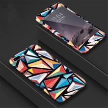 Abstract Triangle 360 Degree Full Body Case For iPhone 5 6 6s 7 8 X 5s PlusGeometric Graphic Pattern Case With Tempered Glass(China)