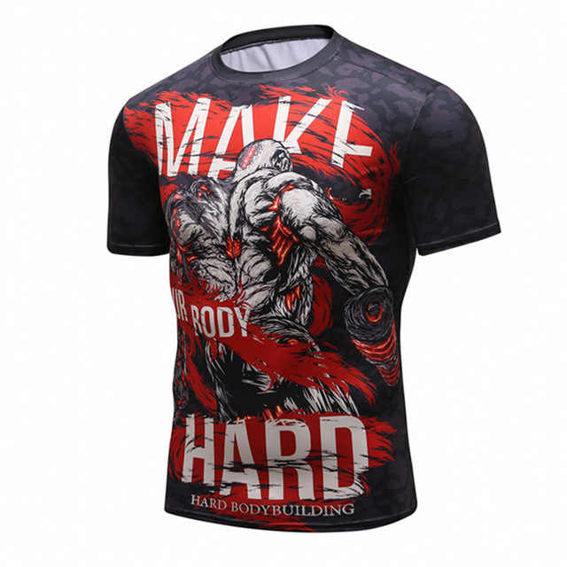 جديد الرجال ضغط t قميص الرجال الأزياء التنين طباعة التجفيف السريع قصيرة الأكمام Rashguard BJJ الصليب صالح اللياقة البدنية الجوارب التي شيرت