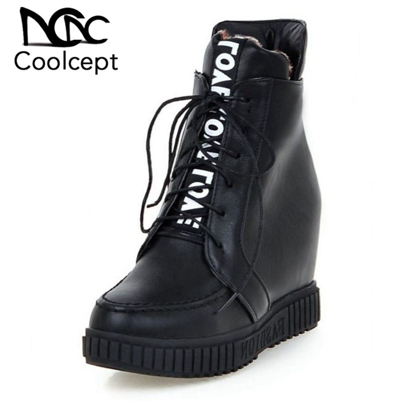 Coolcept 4 Color Women Ankle Boots Thick Bottom Winter Fur Boots Keep Warn Hidden Heels Strappy