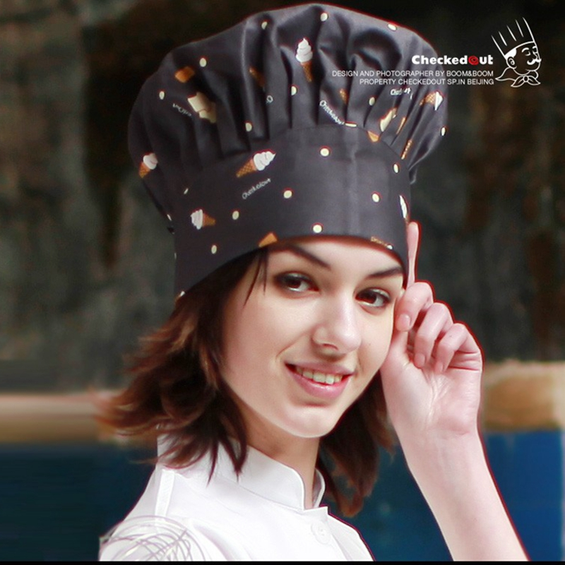 Professional Pure Cotton Printed  Chef Hat Men Adjustable Chef Cap Women Bakery Accessories