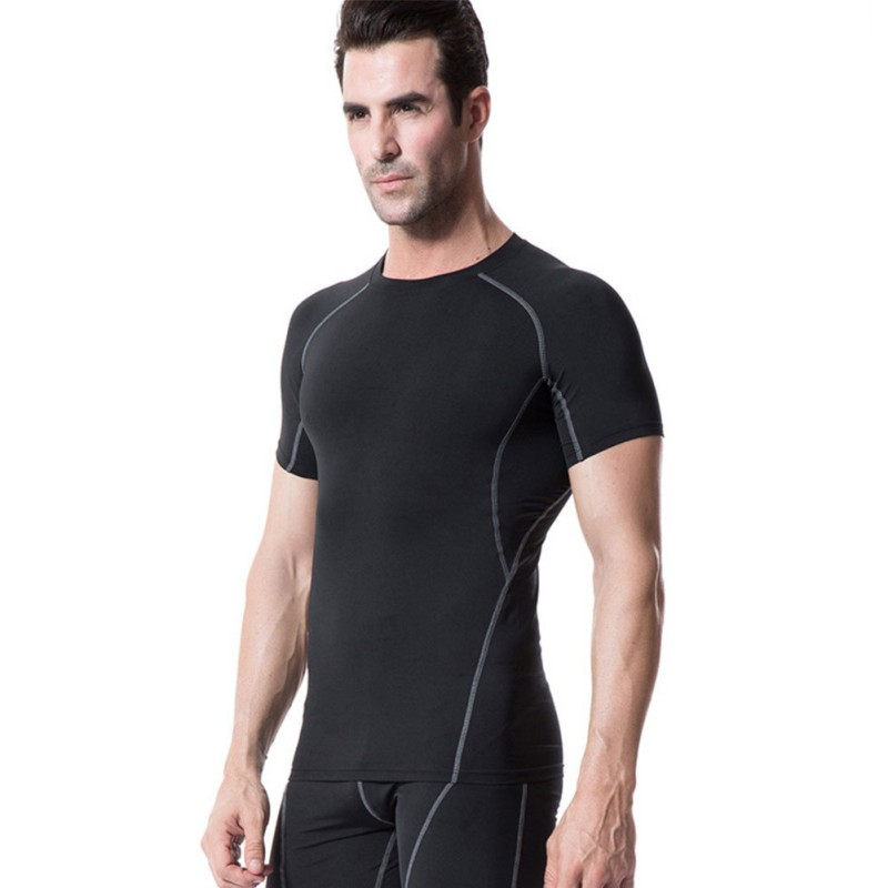 Male Gym Rashgard Quick-drying Breathable Bottoming Round Collar T-shirt Sports Tops Fitness Top Gym Training Running Shirt