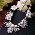 New Creative Vintage Crystal Leaf Necklace Fashion Pearl Statement Necklaces Bijouterie For Women