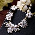 Nueva Creativo de La Vendimia de la Hoja de Cristal Collar de Perlas de la Moda Collares Declaración Bijouterie Para Las Mujeres