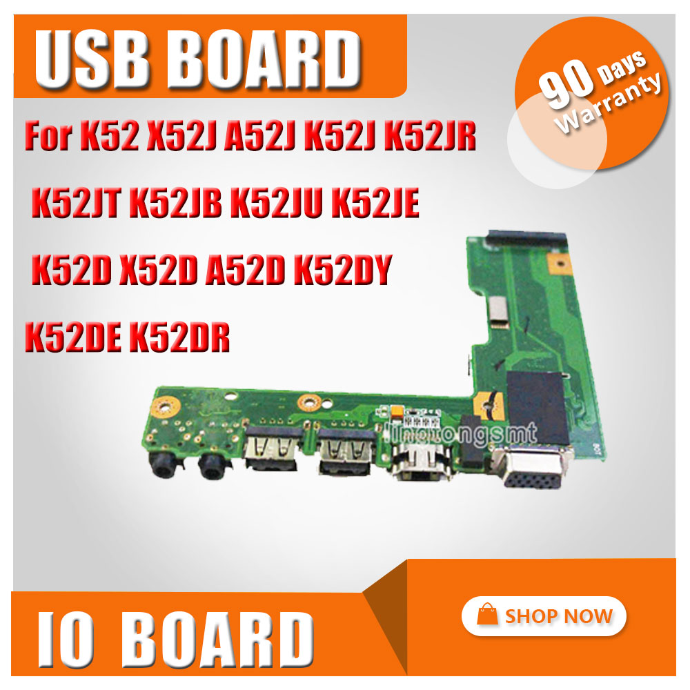 For ASUS K52 X52J A52J K52J K52JR K52JT K52JB K52JU K52JE K52D X52D A52D K52DY K52DE K52DR Audio USB IO board Interface board for asus k52jr laptop motherboard ddr3 rev 2 3a 8 pieces video memory fit for k52j a52j k52jt mainboard test and free shiopping