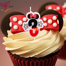 1pc Mickey Minnie Mouse Birthday Candle Number 3 Anniversary Cake Numbers Age Party Supplies Decoration