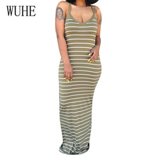 WUHE Womens Striped Mopping Sexy Dress Elegant Women Sleeveless Hollow Out Bodycon Summer Casual Vestidos Plus Size XXL