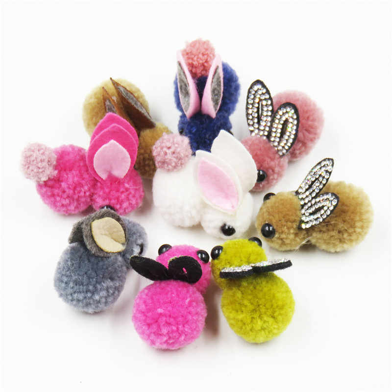 1PCS Pretty 4CM Hairball Tail Rabbit Elastic Hair Bands Bow For Girl Hair Tie Scrunchy Kids Hairpins Hair Accessories For Women