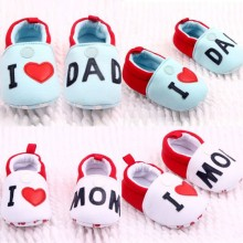 Hot Love MOM/DAD Lovely  Baby Girls Boy Shoes Round Toe Flats Soft Slippers Toddler Shoes