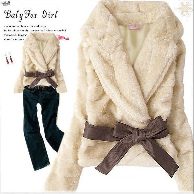 Korea Fashion Faux Fur Rabbit Hair Lady Warm Coat Jacket Fluffy Short Outwear Belted #28857