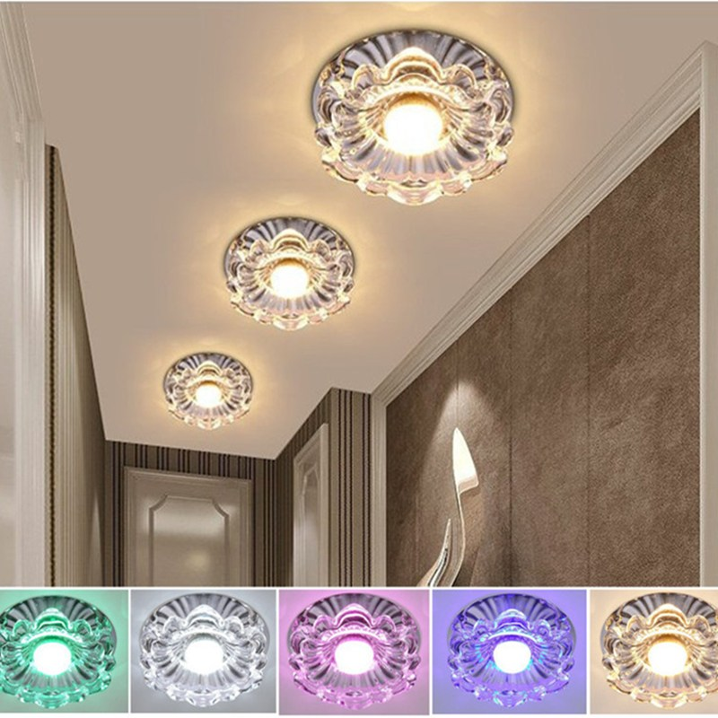 3W Crystal Surface Mounted Colorful Lighting LED Ceiling Light Balcony Porch Corridor Lamp Art Gallery Home Decor AC110-240V zmishibo double heart crystal pendant ceiling lamp 3 6 led bulbs 110 220v surface mounted chandelier lighting master bedroom