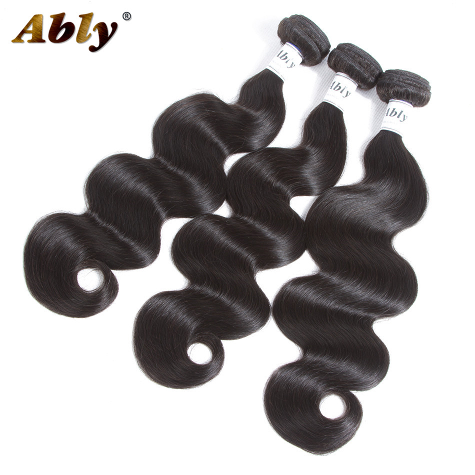 Peruvian Body Wave Human Hair 3 Bundles Ably 100% Remy Hair Weave Bundle Weft Extensions Natural Color Wet And Wavy Human Hair