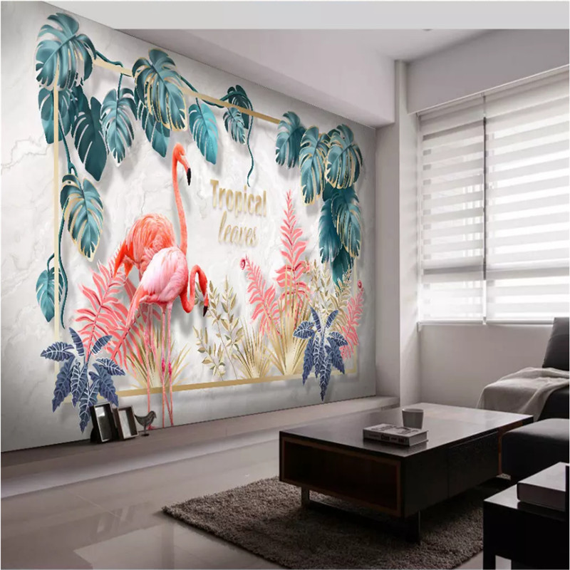 Custom Wall Paper 3D European Tropical Green Plants Leaves Lovers Flamingo Mural Wallpapers for Living Room Home Improvement Home Improvement