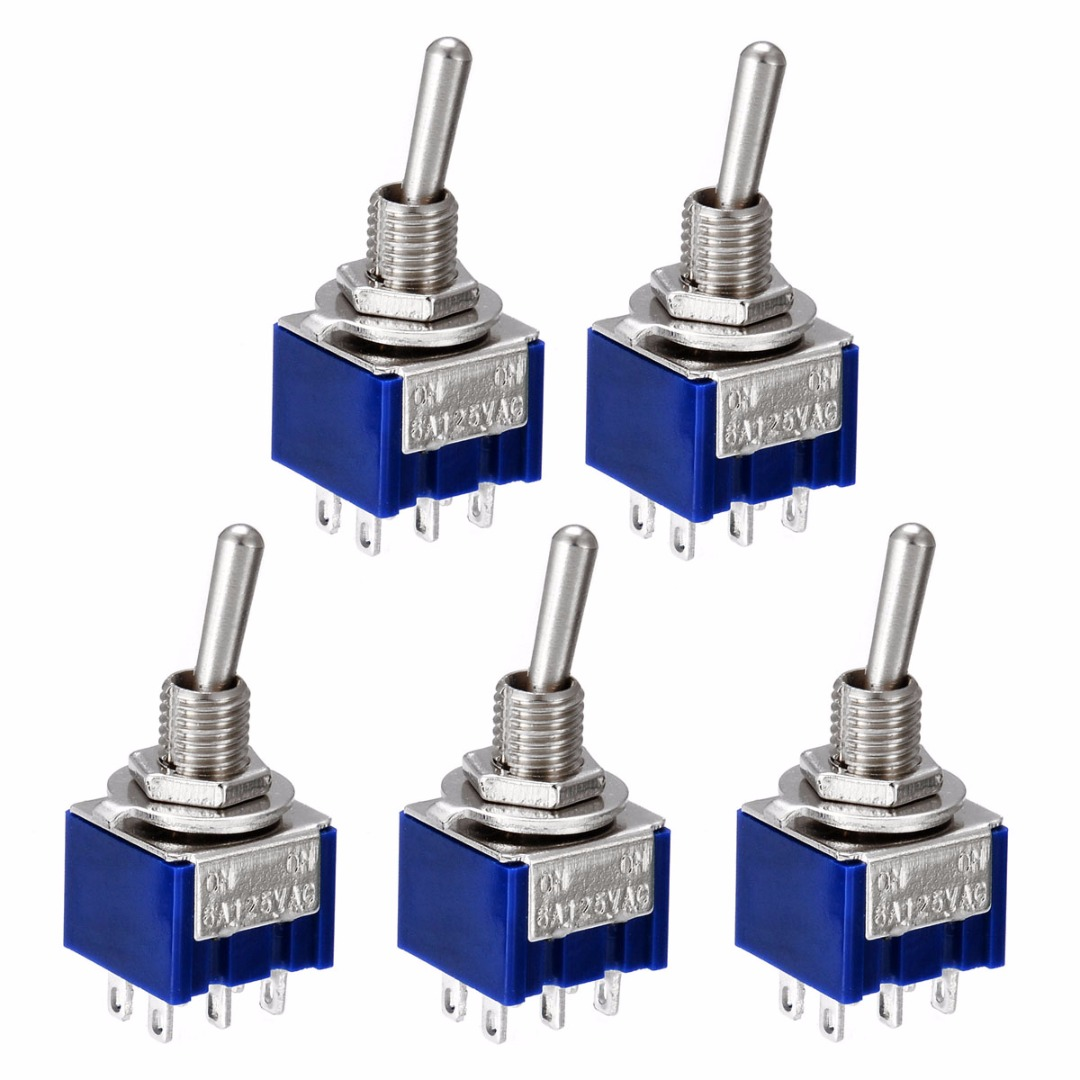 5PCS/10PCS Mini DPDT Switch MTS-202 6A 125V AC 6 Pins 2 Positions ON/ON Toggle Switches For Switching Lamp Light кулисный переключатель oem 2015 dpdt 6 3 6a 250 10 125v ac sku100997