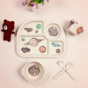 Image 1 - 5pcs/set Bamboo Fiber Children Tableware Set Baby Feeding Plates Dishes Bowl With Cup Fork Spoon Cartoon Animal Kids Dinnerware