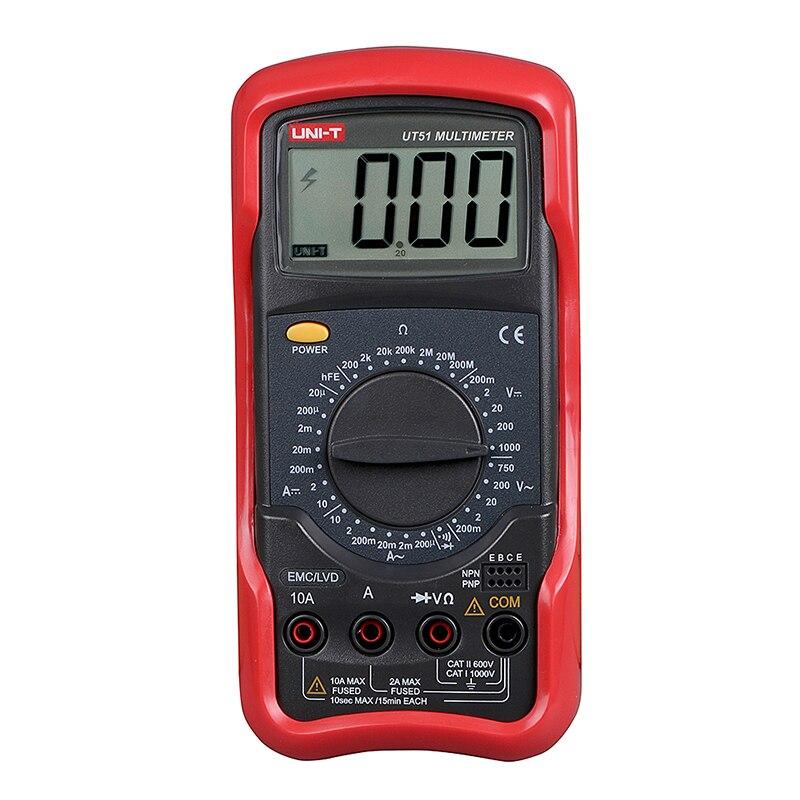 UNI-T UT51 Standard Digital Multimeter AC/DC Resistance Meter Volt Ohm  10A Fuse With Resistance Diode Transistor