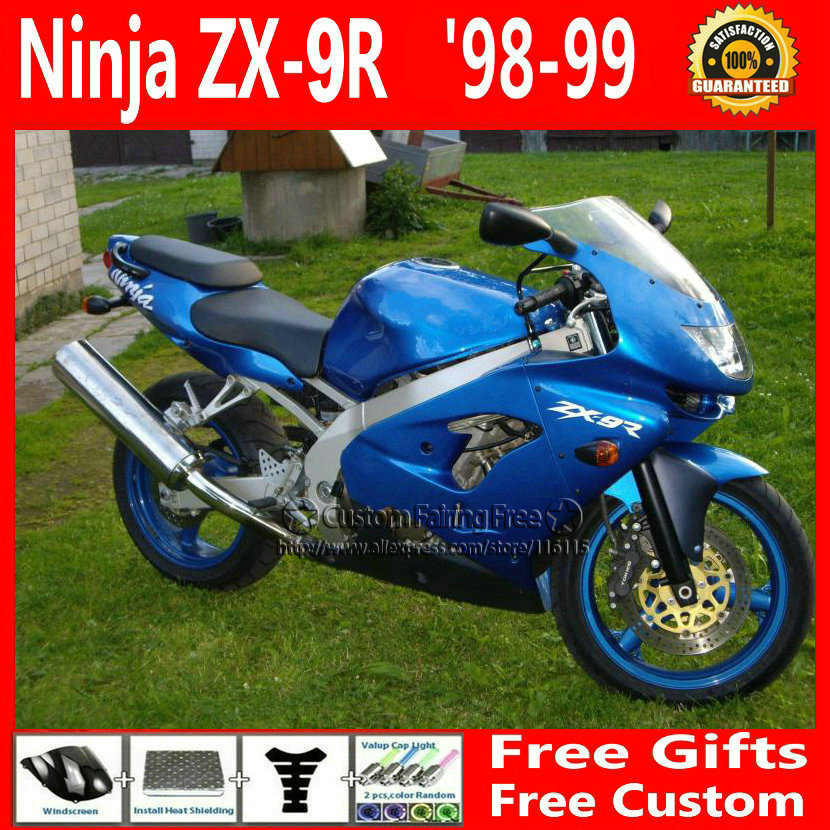 New custom bodyworks for Kawasaki fairings1998 1999 ZX9R ABS plastic Ninja zx9r 98 99 blue body parts aftermarket 1pc new 99 9