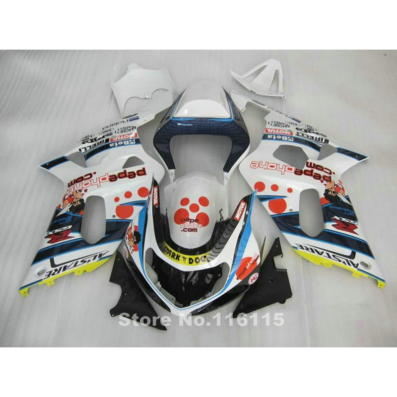Hot Fairing kit for SUZUKI GSXR600 GSXR750 K1 2001 2002 2003 GSXR600 750 01 02 03 blue white DARK DOG motorcycle fairings set X5