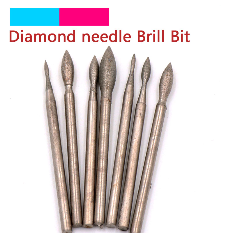 Diamond Grinding Head Polishing Needle Bits Burrs Metal Stone Jade Engraving Carving Tools For Dremel 2.35mm Shank J Needle