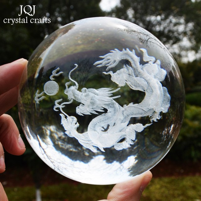 JQJ 3D Laser Engraved Dragon Figurines Crystal Glass Ball Feng Shui Home Decor miniature Ornaments accessories Modern