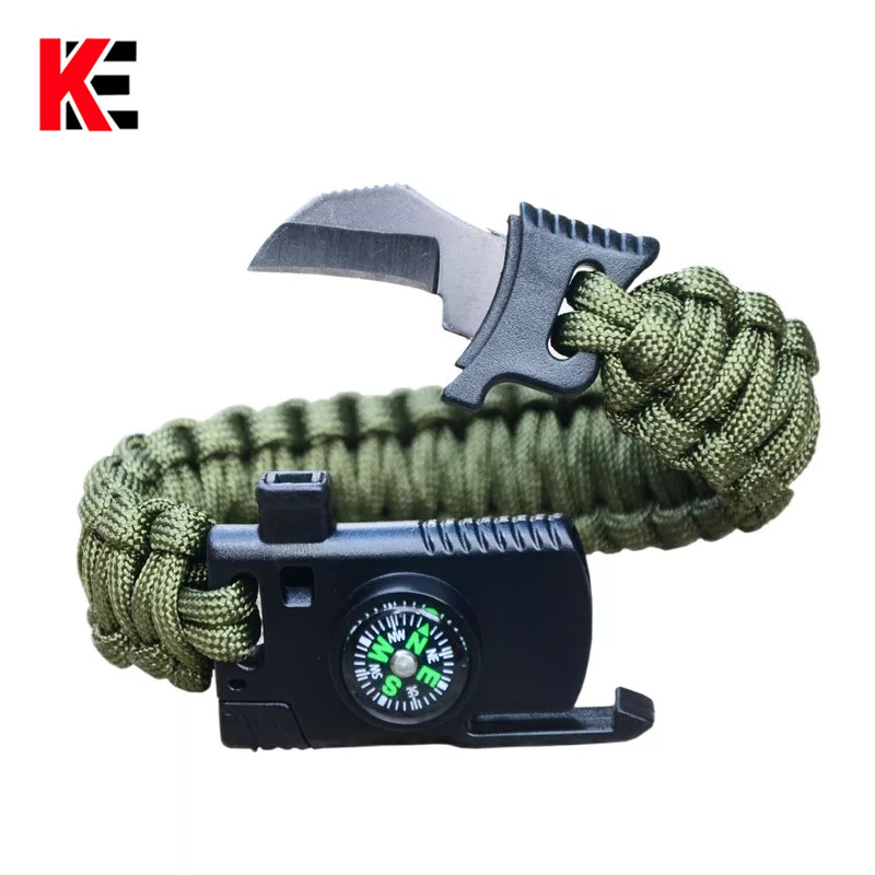 Outdoor Survival Bracelet For Men Women Braided Paracord Wristband Camping Hiking Emergency Rescue Rope Bangles Knife Compass