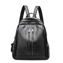 Женщины рюкзак 2017 натуральная кожа рюкзаки школьные сумки для подростков девочек Дорожная Сумка Черный