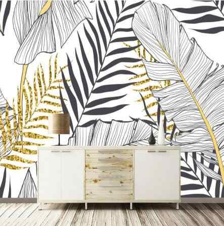 Papel de parede Nordic einfache banana blatt schwarz und weiß palm wand dekoration malerei custom große wandbild tapete
