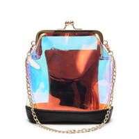 Fashion Symphony laser rivets pvc transparent female bucket package handbag casual women's crossbody messenger bag shoulder bag