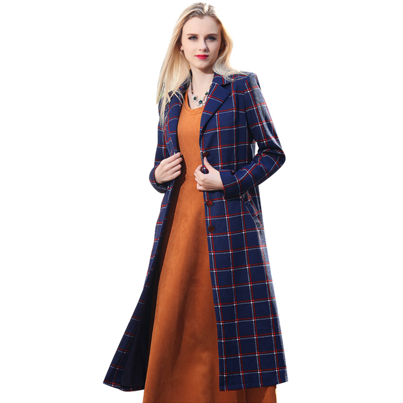 Unique Manteau Midi Femmes Long Pardessus Poitrine Printemps Street Multi Revers Fashion Femme High Plaid Entaillé CRq8UwXx