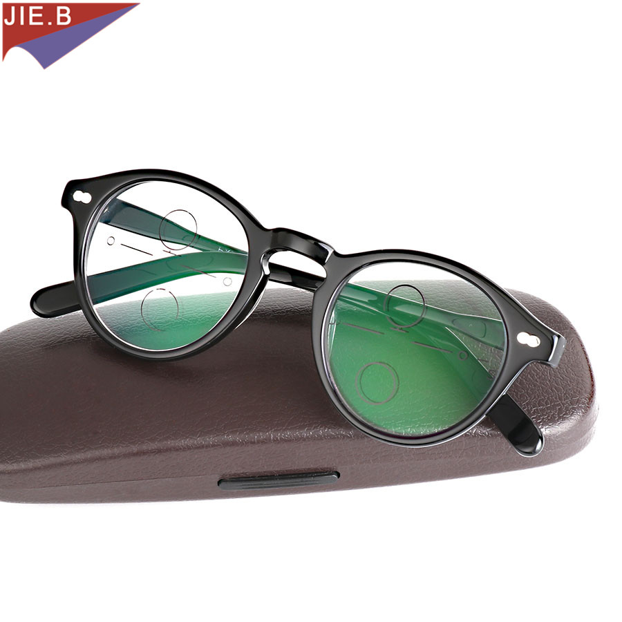 Verres multifocaux de qualité acétate 2019 lunettes de lecture hommes mode demi-jante lunettes progressives lunettes dioptriques carrées