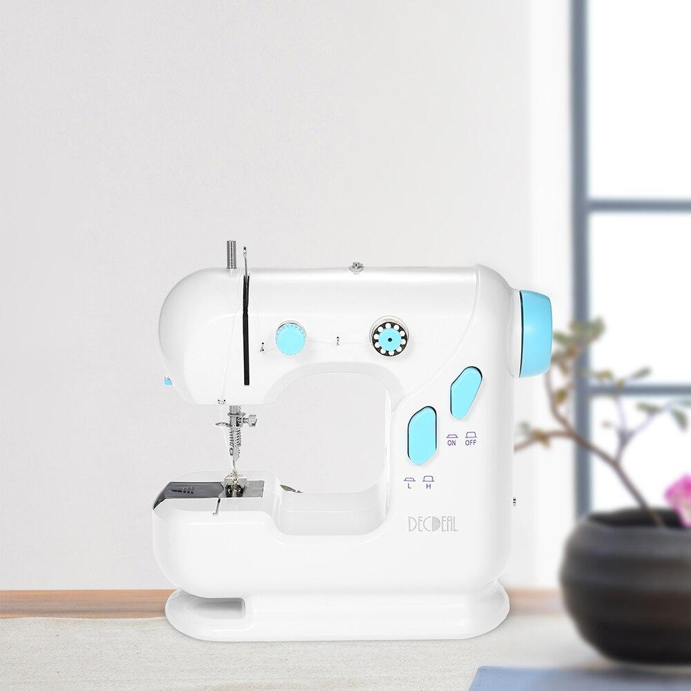 Máquina Eléctrica multifuncional máquina de coser del hogar con doble hilo doble velocidad LED Pedal