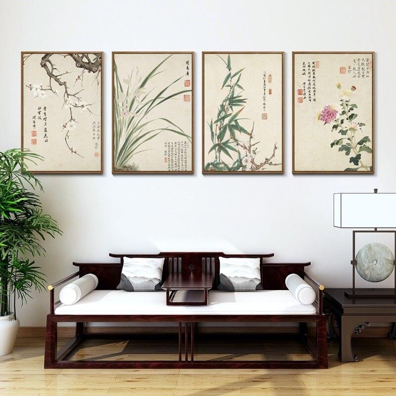 Estilo chinês Ameixa Bambu Orquídea e Crisântemo Pintura Da Lona Retro Cartazes e Pintas para Casa Decoração Wall Art Pictures